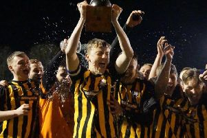 Worksop U19s lift the trophy. Pic credit: Lewis Pickersgill.