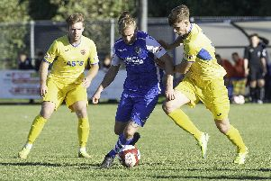 AFC Mansfield (in yellow) in action at Pontefract Collieries earlier this season.