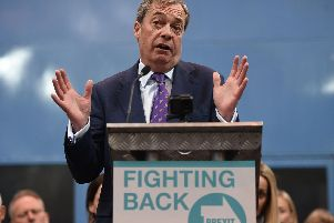 British politician and The Brexit Party leader, Nigel Farage addresses the launch of The Brexit Party's European Parliament election campaign  (Photo credit should read OLI SCARFF/AFP/Getty Images)