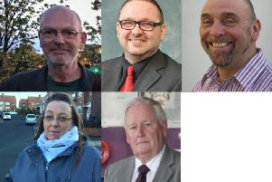 Top row (l-r): Richard Peter BRADLEY, Colin ENGLISH'(Labour Party), (Green Party candidate), John DEFTY'(UKIP)'Bottom row (l-r): Heather FAGAN (Liberal Democrat), John Scott WIPER (The Conservative Party Candidate)