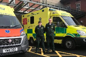 Claire McGahan and Adrian Langford who are in the final year of their Diploma of Higher Education Paramedic Practice at the University of Sunderland.
