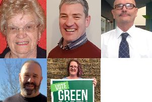 Top (l-r) Doris Turner (Labour), Michael Robert Hopper (Ukip), David William Geddis (Independent. 'Bottom (l-r): Glyn Dixon (Democrats and Veterans Pary), Rachel Louise Lowe (Green Party)
