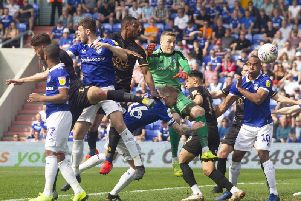 Action from Stags' 3-2 defeat at Oldham on Monday.