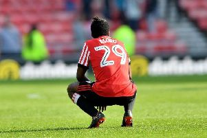 Joel Asoro despairs as Sunderland are relegated from the Championship.