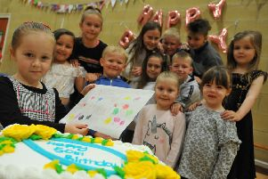 Pupils at Westlea Primary School, Seaham, celebrating the school's 50th anniversary.