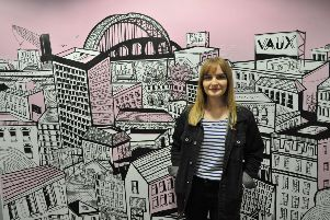 Artist Kathryn Robertson has created a mural of Sunderland in the University's Priestman Building.