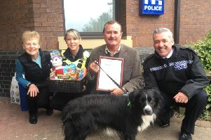 Georges wife Helen; PCSO Natalie Gibson; Peter Collins and Superintendent Paul Milner with Ted
