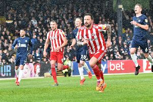 Chris Maguire celebrates his goal against Southend United.