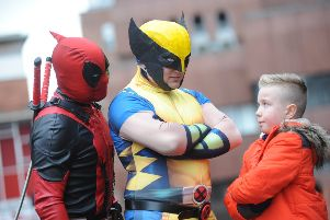 Empire Cinema's first Minicon to coincide with the launch of Deadpool - Karl Hicks as Deadpoll and David Golden as Wolverine, meeting youngster Callum Barker.