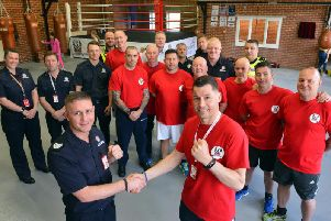 Launch of The Sunderland Community Hub, for boxing training and social skills to reduce anti-social behaviour. Front from left Tyne and Wear Fire and Rescue Service head of prevention and education Grant Brotherton and hub chairman Joe Haustead.