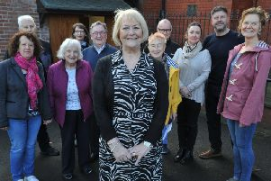 Sandra Falkner (front) and some of the dedicated volunteers who are saving dementia services for Sunderland.