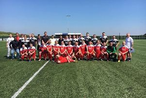 Players who took part in a charity game in memory of Paul Warris in 2018.