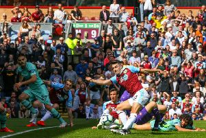 Burnley's Matthew Lowton shoots at goal''Photographer Alex Dodd/CameraSport''The Premier League - Burnley v Arsenal - Sunday 12th May 2019 - Turf Moor - Burnley''World Copyright � 2019 CameraSport. All rights reserved. 43 Linden Ave. Countesthorpe. Leicester. England. LE8 5PG - Tel: +44 (0) 116 277 4147 - admin@camerasport.com - www.camerasport.com