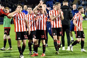 George Honeyman celebrates Sunderland's semi final win