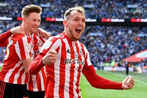 Sunderland players celebrate at Wembley in the Checkatrade Trophy final.