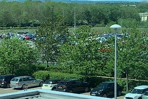 Staff outside the npower offices at Rainton Bridge, Houghton, after a suspicious package was found there earlier today. Picture courtesy of Scott Goodacre.