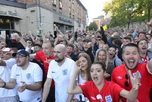 Fans watch England take on Colombia at the FanZone in Low Row during last year's World Cup