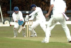 CLITHEROE CC V GREAT HARWOOD CC: Clitheroes' Peter Dibb hits a four. 'Photo Ben Parsons