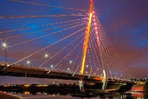 The Northern Spire bridge will be one of the landmarks lit up in red and white across the city to mark Sunderland AFC's Wembley play-off match against Charlton Athletic.