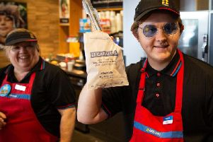 Picture issued by Greggs of Scottish singer-songwriter Lewis Capaldi who thrilled music fans by going undercover to serve in a Greggs bakers on Stokesley Road in Middlesbrough ahead of his performance at Radio 1's Big Weekend in Middlesbrough