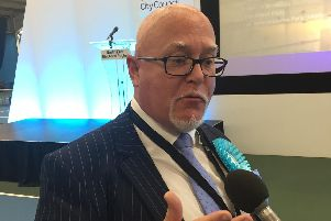 Newly elected MEP Brian Montieth talks about the Brexit Party's success at the European Parliamentary elections count for the North East in Sunderland. Picture by Tom Wilkinson/PA Wire