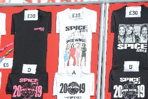 Prices on the merchandise stand for the Spice Girls concert at the Stadium of Light.