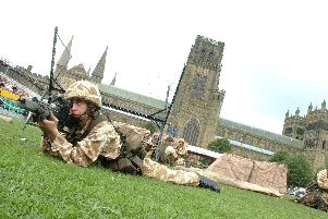 Territorial Army demonstration on Palace Green, Durham City