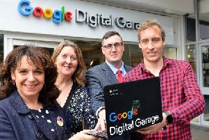 Google Digital Garage training hub opened at the Bridges Shopping Centre in May 2019.'From left Julie Elliott MP for Sunderland Central, Helen Milner OBE, CEO of Good Things Foundation, Coun Michael Mordey Deputy Leader of Sunderland Council and Dave Skelton of Google Digital Garage.