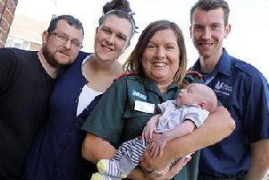 Proud parents Toni Robinson and Nick Gibson with Finley, Phillip and Annette