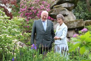 The Duke and Duchess of Devonshire in the giant rock garden which is at the centre of the biggest changes to the Chatsworth gardens for 200 years.