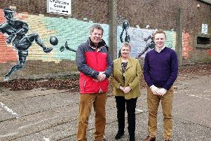 County councillors Robbie Moore and Gordon Castle and Deputy Mayor of Alnwick Lynda Wearn at the school site.