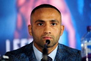 Kid Galahad at Wednesday's press conference in Leeds.