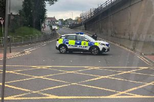 Police at the scene on Saturday lunchtime, the second time they were called to the bridge.
