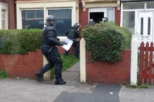 100 officers from across Lancashire have raided six homes in Fleetwood as part of a crackdown on widespread drug offences