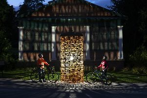 """Spectacular sight in the Valley Gardens - As Harrogate prepares to """"Welcome the World"""" with the arrival of the UCI Road World Championships, a new illuminated sculpture honouring the town's spa heritage is unveiled."""