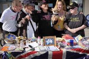Sandra Wilson, centre, with volunteers at her mental health stall in Scarborough. PIC: Richard Ponter