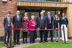 Mayor of Scarborough, Cllr Hazel Lynskey, prepares to cut the ribbon at the remodelled Weaponness House.