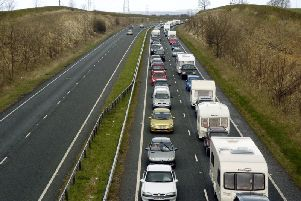 Queues on the A64. PIC: Andrew Higgins