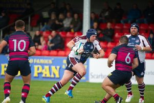 Phil Watson on the charge for Scarborough RUFC. Picture by Andy Standing.