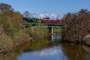 Flying Scotsman passes over the River Derwent