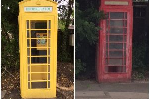 Before and after pictures of the phone box  in Clayton-le-Woods, Chorley, which has been transformed into a defibrillator (Photos: Chorley Council)