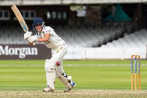 Will Hutchinson bats for Flixton in their Cricketer National Village Cup final at Lord's. Picture by Will Palmer.