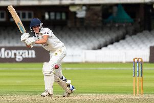 Will Hutchinson on his way to 48 at Lord's. Picture by Will Palmer.