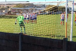 Mike Hall fired just over with this free-kick after scoring one from a similar position