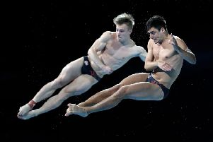 England's Jack Laugher and Chris Mears in action at the 2018 Commonwealth Games in Australia. PIC: Danny Lawson/PA Wire