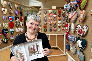 The Sawdust Hearts exhibition at the Woodend Museum - organiser Helen Birmingham at the exhibition. pic Richard Ponter