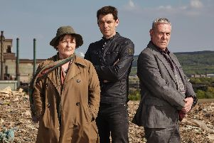Pictured: Brenda Blethyn as DCI Vera Stanhope,  Kenny Doughty as DS Aiden Healy and Jon Morris as DC Kenny Lockhart.