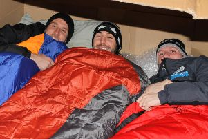 South Shields players Jon Shaw, Carl Finnigan and Barrie Smith taking part in the club's last sleep-out in 2017.