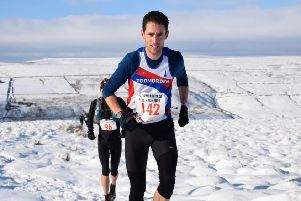 Todmorden Harriers'  Graeme Brown at the Wadsworth Trog. Picture: Woodentops.