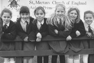 Pictured in 1993 are St Martin's C of E School pupils whose fundraising efforts collected 435 for the Blue Peter Appeal - from left, Laura Alexander, Sophie Bashall, Jill Adamson, Elizabeth Greenwood, Laura McGill, and Katy Swailes.
